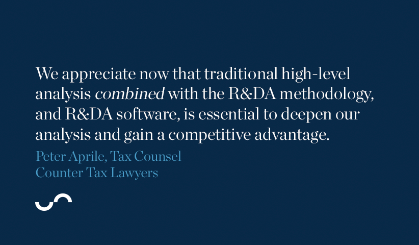We appreciate now that traditional high-level analysis combined with the R&DA methodology, and R&DA software, is essential to deepen our analysis and gain a competitive advantage.
